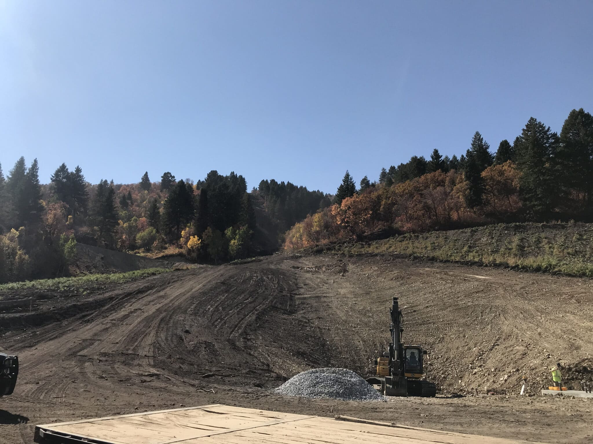 Looking up the new lift line from the base area